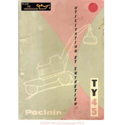 Poclain Type Ty45 Utilisation Et Entretien