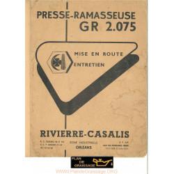 Rivierre Gasalis Gr 2075 Presse Ramasseuse