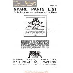Amal Carburador Lista De Piezas De Repuesto N 351 1930 Ingles