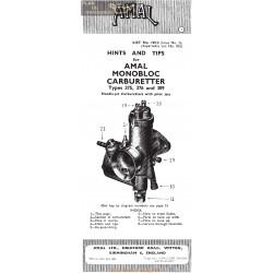 Amal Carburador Monobloc 375 376 389 Consejo Sugerencias