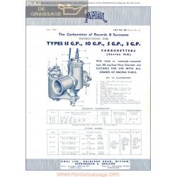 Amal Carburador Type 15gp 10gp 5gp 3gp Instrucciones Ingles