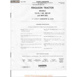 Carter To 35 F 40 Mh 50 Mhf 202 Ferguson 2612s 5274 1957