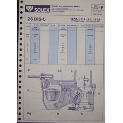Solex 26 Dis 5 Renault 4 Ls R1120 R2102 R1123 R1126 3667 F