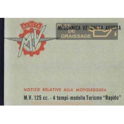 Agusta Mv Uso E Manutenzione Mv 125 TR Incompleto