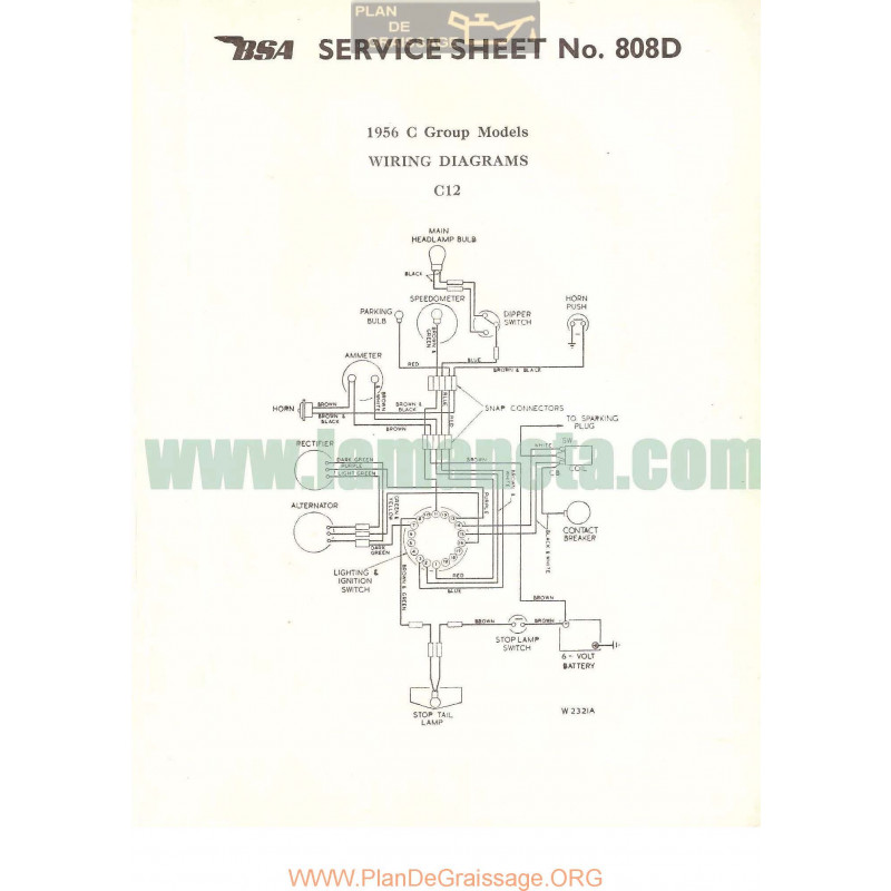 Bsa Service Sheet N 808d P1956 Wiring Diagrams C12 C Group 1956