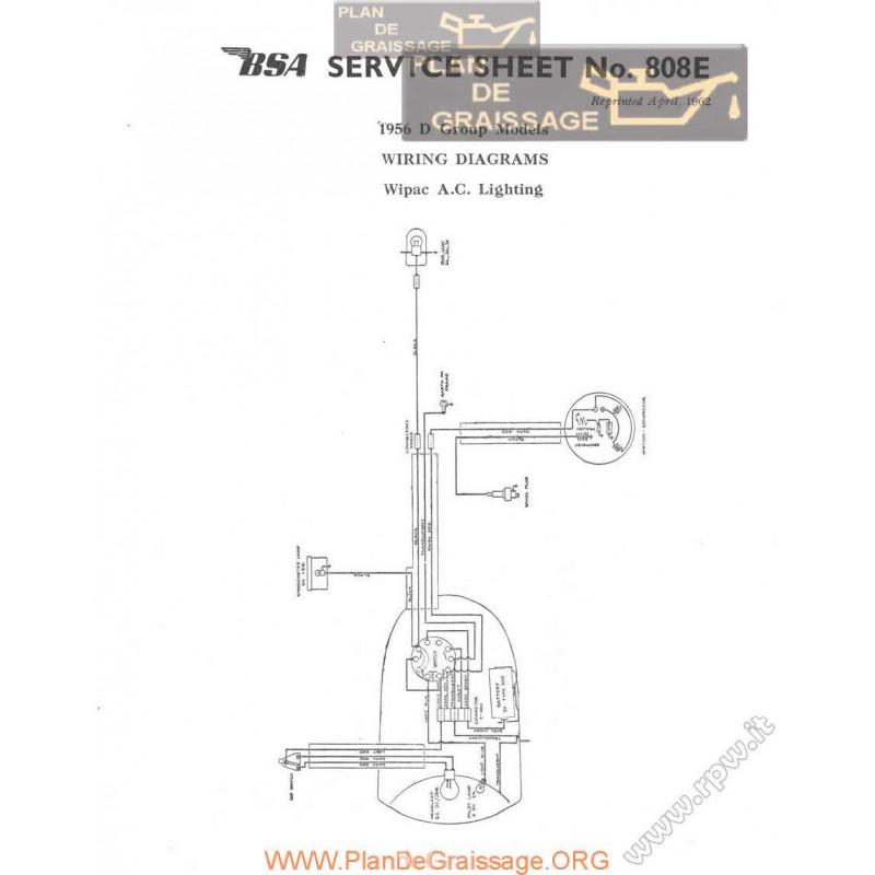 Bsa Service Sheet N 808e P1962 Wiring Diagrams Wipac Ac D Group
