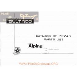Bultaco Alpina 250 350 Mod 212 213 Despiece Spgb