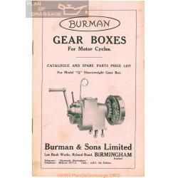 Burman Caja Cambio Modelo Q Catalogo De Recambio Y Precios Ingles