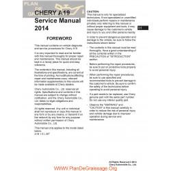 Chery A19 2014 Service Repair Manual