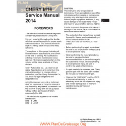 Chery Arrizo7 M16 2014 Service Manual En