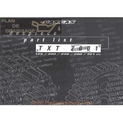 Gasgas Txt Pro 125 200 250 280 300 2001 Parts List