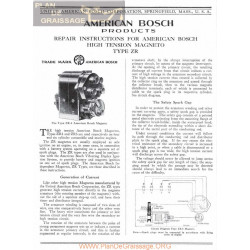 General Bosch American Magneto Serie Zr Servicio Manual Ingles