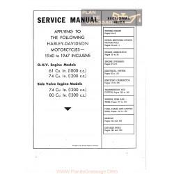 Harley Davidson 61 74 80 El Fl Ul Ulh Manuel De Service 1940 A 1947