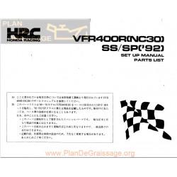 Honda Vfr 400r Ss Sp 1992 Set Up Manual Parts List