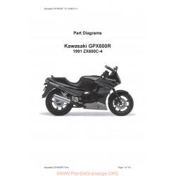 Kawasaki Gpx 600 R Zx 600 C4 1991 Parts List