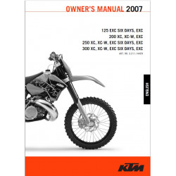 Ktm 125 200 250 300 Exc Six Xc Owner Manual 2007