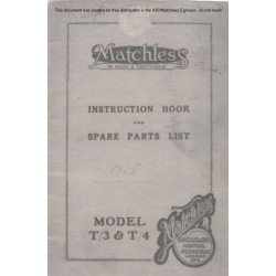 Matchless 1928 T3 T4 Instruction Book And Spares List