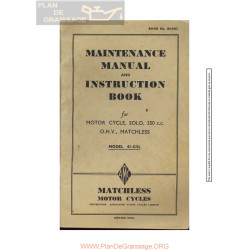 Matchless 350 Cc G3l 1941 Owners Manual