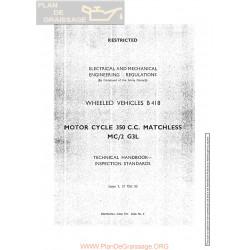 Matchless 350 Cc Mc2 1953 Army G3l Technical Handbook