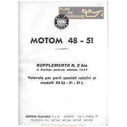 Motom Cat Ricambi Del 1954 Supplemento N3 Bis