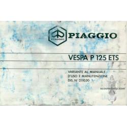 Piaggio Vespa P125 Ets Operation Maintenance IT