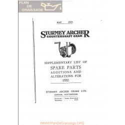 Sturmey Archer Caja Cambio Suplemento Lista De Repuesto 1930 Ingles