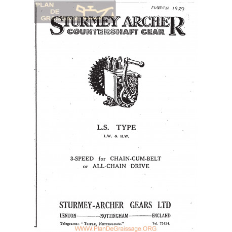 Sturmey Archer Caja Cambio Type Ls Lw Hw Lista De Repuesto E Instrucciones 1929 Ingles