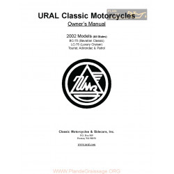 Ural Classic Motorcycles 02 Owners Manual