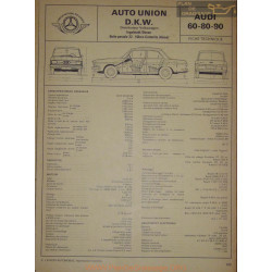 Auto Union Dkw Audi 60 80 90 Fiche Technique