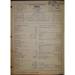 Simca 1000 6cv Special Fiche Technique
