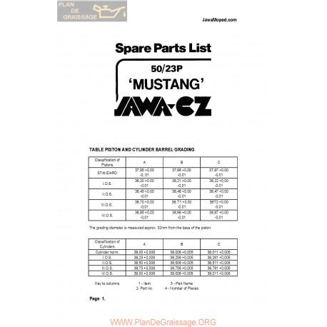Jawa 50cc 23p Mustang Eng Spare Parts List