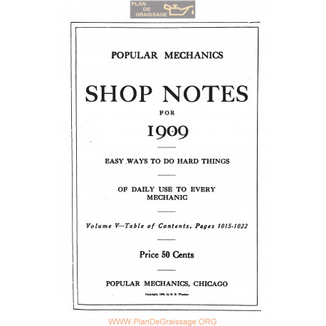 Shop Notes 1909 Popular Mechanics Volume5 1909