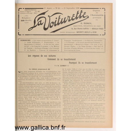 La Voiturette N11 25 Septembre 1908
