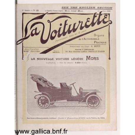 La Voiturette N13 English Section 25 Octobre 1908