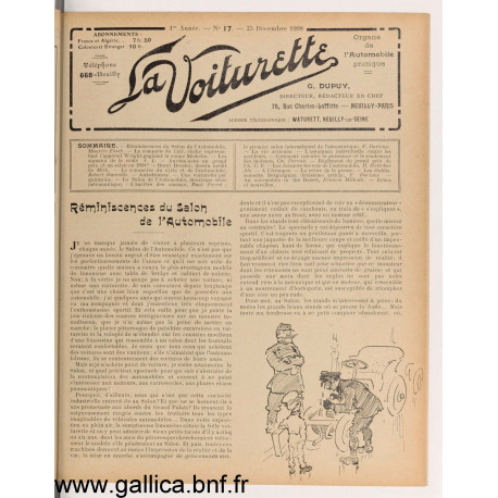 La Voiturette N17 Decembre 1908
