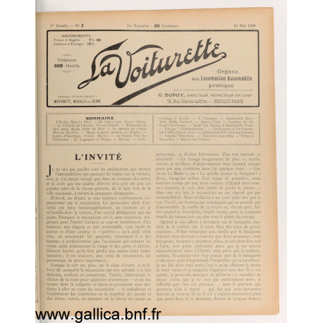 La Voiturette N2 10 Mai 1908
