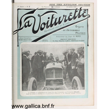 La Voiturette N7 English Section 25 Juillet 1908