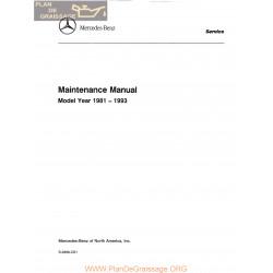 Mercedes W124 Maintenance Manual 1988 A 1993