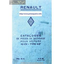 Renault 10cv Kz5 Pr93 Catalogue De Piece 1930
