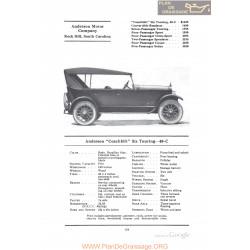 Anderson Coachbilt Six Touring 40c Fiche Info 1922