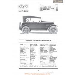 Anderson Convertible Roadster R Fiche Info 1920