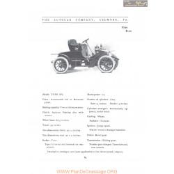 Autocar Model Xv Fiche Info 1907