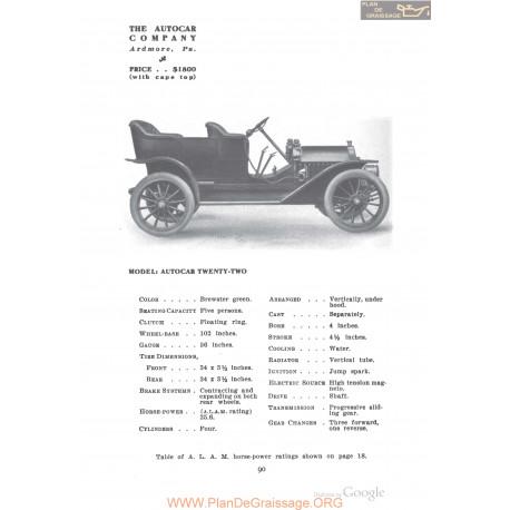 Autocar Twenty Two Fiche Info 1910