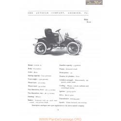 Autocar Type X Fiche Info 1906