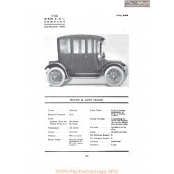 Baker Rauch & Lang Coach Fiche Info 1917