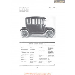 Baker Rauch & Lang Coach J6 Fiche Info 1916