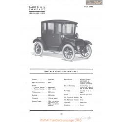 Baker Rauch & Lang Electric Bx7 Fiche Info 1918