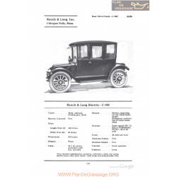 Baker Rauch & Lang Electric C505 Fiche Info 1922