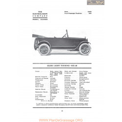Bartholomew Glide Light Touring Six 40 Fiche Info 1919