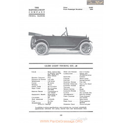 Bartholomew Glide Light Touring Six 40 Fiche Info 1920